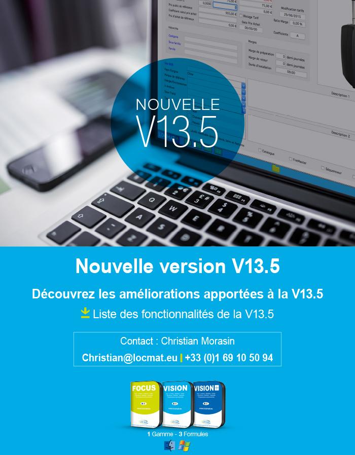 Nouvelle version logiciel. Les mises à jour de la V13.5
