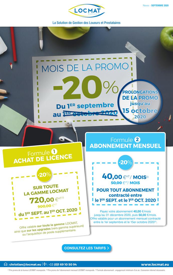 La Promo de la Rentrée joue les prolongations. Profitez de 20% de remise sur la licence LOCMAT ou sur l'abonnement mensuel